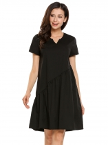 Black Solid Short Sleeve Notch Neck Keyhole Back Loose Dress