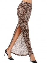 Brown Leopard Elastic High Waist Ruched Split Side Bodycon Maxi Skirt