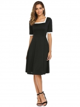 Black Vintage Style Square Neck Contrast Trim Swing Dress