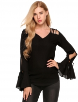 Black Solid Flare Long Sleeve Hollow-out Shoulder Chiffon Blouse