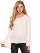 White Solid Flare Long Sleeve Hollow-out Shoulder Chiffon Blouse