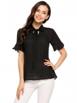 Black Bow Tie Collar Short Ruffle Sleeve Solid Chiffon Blouse