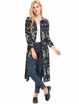 Dark blue Long Sleeve Floral Prints Bandage Button-down Chiffon Cardigans