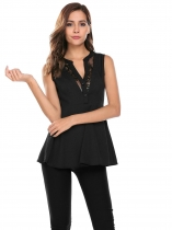 Black Notched Sleeveless Lace Patchwork Long Slim Flare Blouse