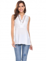 White Notched Sleeveless Lace Patchwork Long Slim Flare Blouse