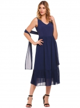 Navy blue V-Neck Sleeveless Chiffon Dress with Belt