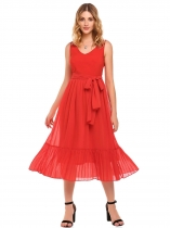 Red V-Neck Sleeveless Chiffon Dress with Belt