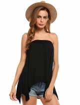 Black Solid Slash Neck Sleeveless Asymmetrical Hem Loose Tube Top