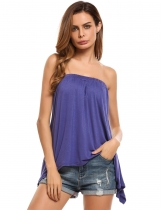 Violet Women Casual Sleeveless Slash Neck Strapless Loose Fit Asymmetrical Hem Solid Shirt Tube Top