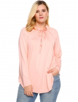Pink Plus Size V-Neck Long Sleeve Solid Blouse