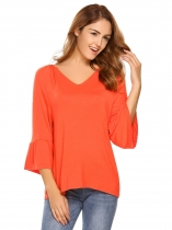 Orange red V-Neck Flare Sleeve Solid Loose Tops