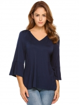 Dark blue V-Neck Flare Sleeve Solid Loose Tops
