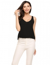 Black Solid V-Neck Sleeveless Loose Pullover Chiffon Tank Tops