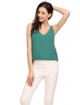 Green Solid V-Neck Sleeveless Loose Pullover Chiffon Tank Tops