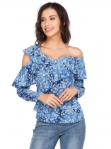 Blue Asymmetric Collar Long Sleeve Floral Ruffle Buttoned Tops