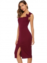 Wine red Sleeveless Solid Bow Tie Split Hem Dress