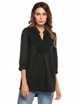Black 3/4 Sleeve Loose V-Neck Lace Buttoned Blouse