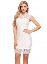 White Cheongsam Neck Sleeveless Lace Pencil Dress