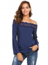 Blue Long Sleeve Off the Shoulder Lace Chiffon Tops