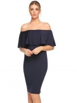 Dark blue Off Shoulder Ruffles Solid Pencil Dress
