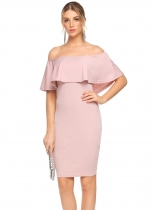 Pink Off Shoulder Ruffles Solid Pencil Dress