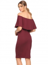 Wine red Off Shoulder Ruffles Solid Pencil Dress