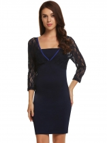 Navy blue 3/4 Sleeve Lace Patchwork Backless Bodycon Dress