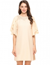 Beige Femmes Casual O Neck Ruffle Sleeve Lace Patchwork Chiffon Mini Straight Dress