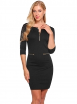 Noir Femmes Mode O-Neck moitié manches Solid Zipper Bodycon Slim Pencil Dress