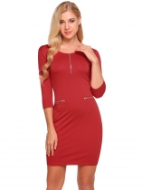 Red Femmes Mode O-Neck moitié manches Solid Zipper Bodycon Slim Pencil Dress