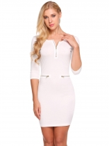 White Femmes Mode O-Neck moitié manches Solid Zipper Bodycon Slim Pencil Dress