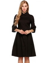 Black Turn Down Collar 3/4 Flare Sleeve Button Down Shirts Dress