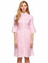 Misty Rose Turn Down Collar 3/4 Flare Sleeve Button Down Shirts Dress