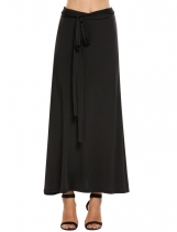 Black High Waist Solid Belted Maxi Skirt
