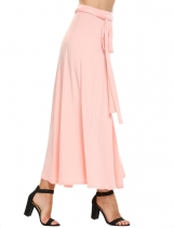 Pink High Waist Solid Belted Maxi Skirt