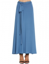Royal Blue High Waist Solid Belted Maxi Skirt