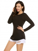 Black Back Cross Deep V-Neck Long Sleeve Solid Tops