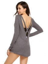 Gray Back Cross Deep V-Neck Long Sleeve Solid Tops