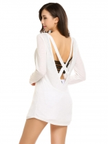 White Back Cross Deep V-Neck Long Sleeve Solid Tops