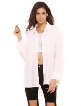 White Long Sleeve Button Down Asymmetric Hem Loose Solid Shirt