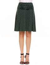 Dark green Polka Dot Ruched Casual A Line Skirt