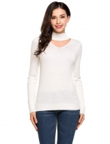Stand Neck Hollow Front Long Sleeve Slim Thin Knit Sweater