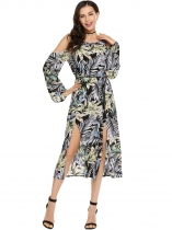 Pattern 3 Bohemia Style Long Flare Sleeve O Neck Cold Shoulder Maxi Casual Dress
