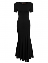 Black Short Sleeve Evening Party Bodycon Maxi Mermaid Dress