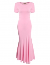 Pink Short Sleeve Evening Party Bodycon Maxi Mermaid Dress