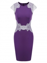 Purple Cap Sleeve Lace Patchwork Bodycon Dress