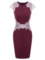 Wine red Cap Sleeve Lace Patchwork Bodycon Dress