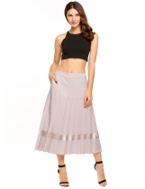 Grey High Waist Solid Calf Length Pleated Skirt