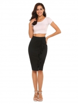 Black High Waist Solid Ruffles Split Skirt