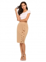 Brown High Waist Solid Ruffles Split Skirt